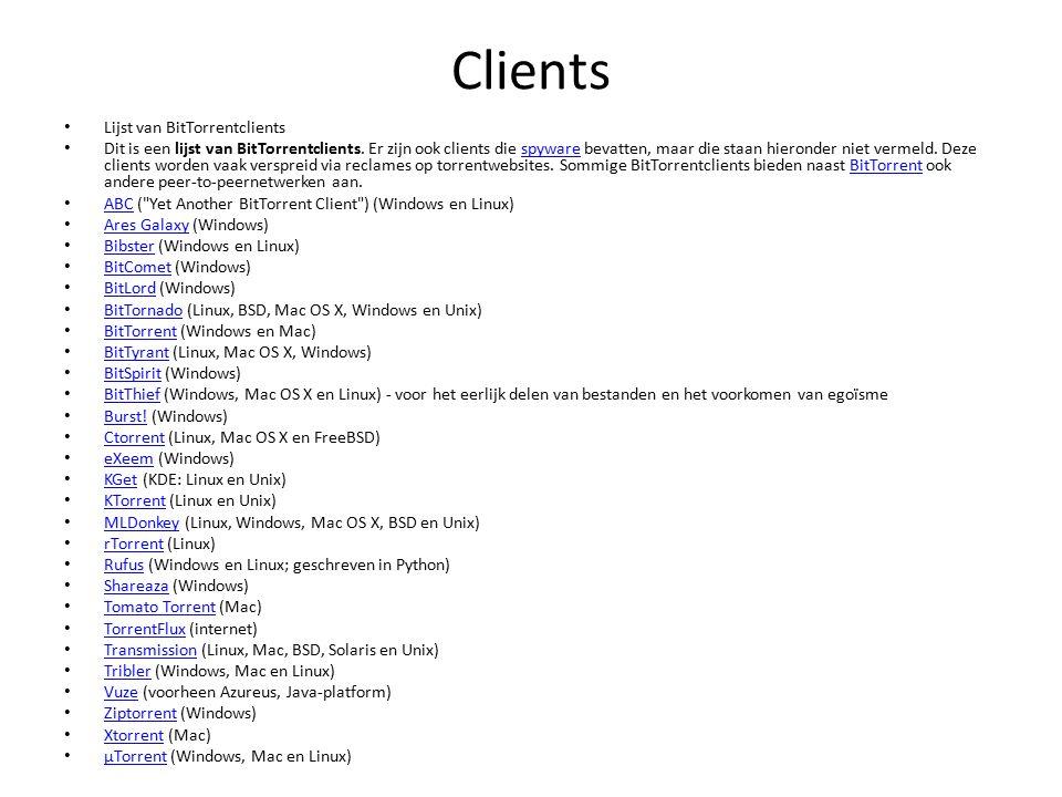 Clients Lijst van BitTorrentclients Dit is een lijst van BitTorrentclients.