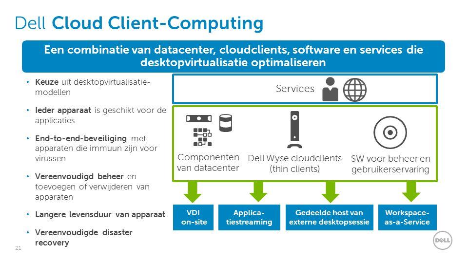 21 Dell Cloud Client-Computing Services Dell Wyse cloudclients (thin clients) SW voor beheer en gebruikerservaring Componenten van datacenter Workspace- as-a-Service Gedeelde host van externe desktopsessie Applica- tiestreaming VDI on-site Een combinatie van datacenter, cloudclients, software en services die desktopvirtualisatie optimaliseren Keuze uit desktopvirtualisatie- modellen Ieder apparaat is geschikt voor de applicaties End-to-end-beveiliging met apparaten die immuun zijn voor virussen Vereenvoudigd beheer en toevoegen of verwijderen van apparaten Langere levensduur van apparaat Vereenvoudigde disaster recovery