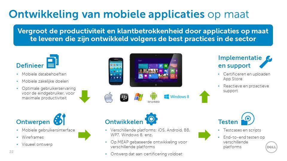 22 Ontwikkeling van mobiele applicaties op maat Definieer Mobiele databehoeften Mobiele zakelijke doelen Optimale gebruikerservaring voor de eindgebruiker, voor maximale productiviteit Ontwerpen Mobiele gebruikersinterface Wireframes Visueel ontwerp Ontwikkelen Verschillende platforms: iOS, Android, BB, WP7, Windows 8.