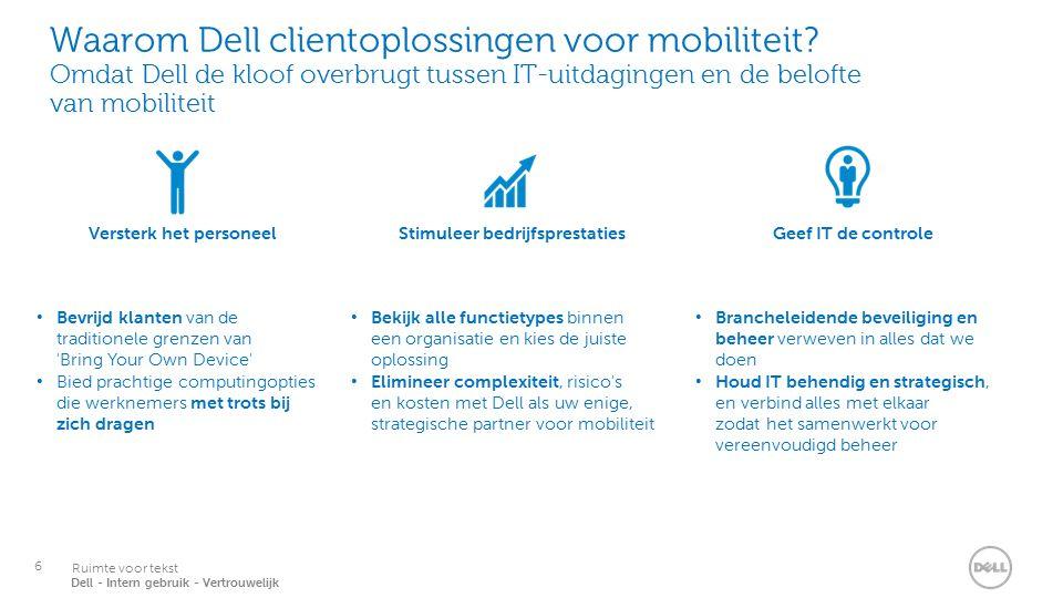 6 Services Ruimte voor tekst Dell - Intern gebruik - Vertrouwelijk Waarom Dell clientoplossingen voor mobiliteit.