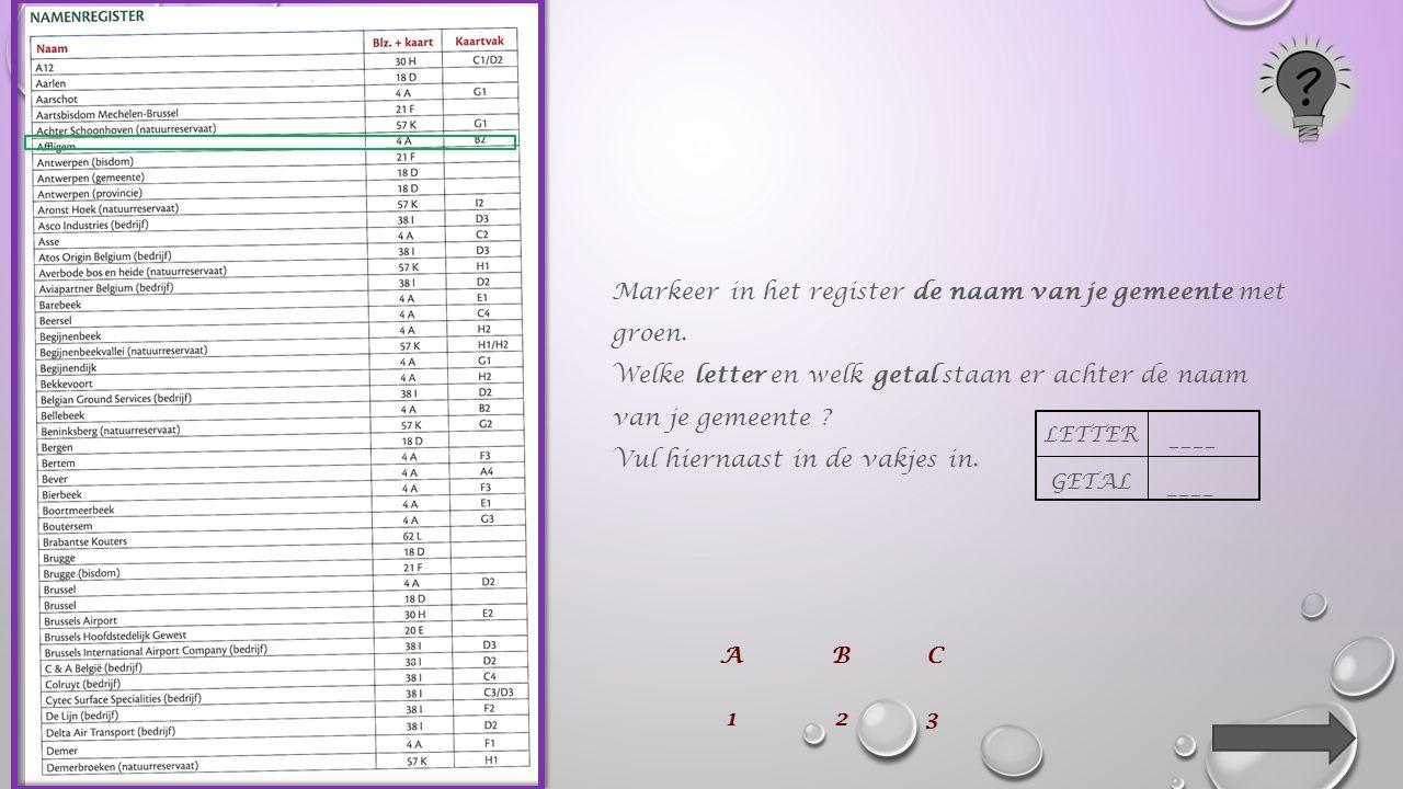 _____________ betekent hier hetzelfde als lijst ! onthoud ! bundellegende register
