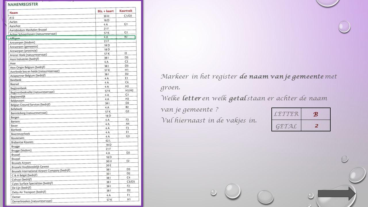 Markeer in het register de naam van je gemeente met groen.
