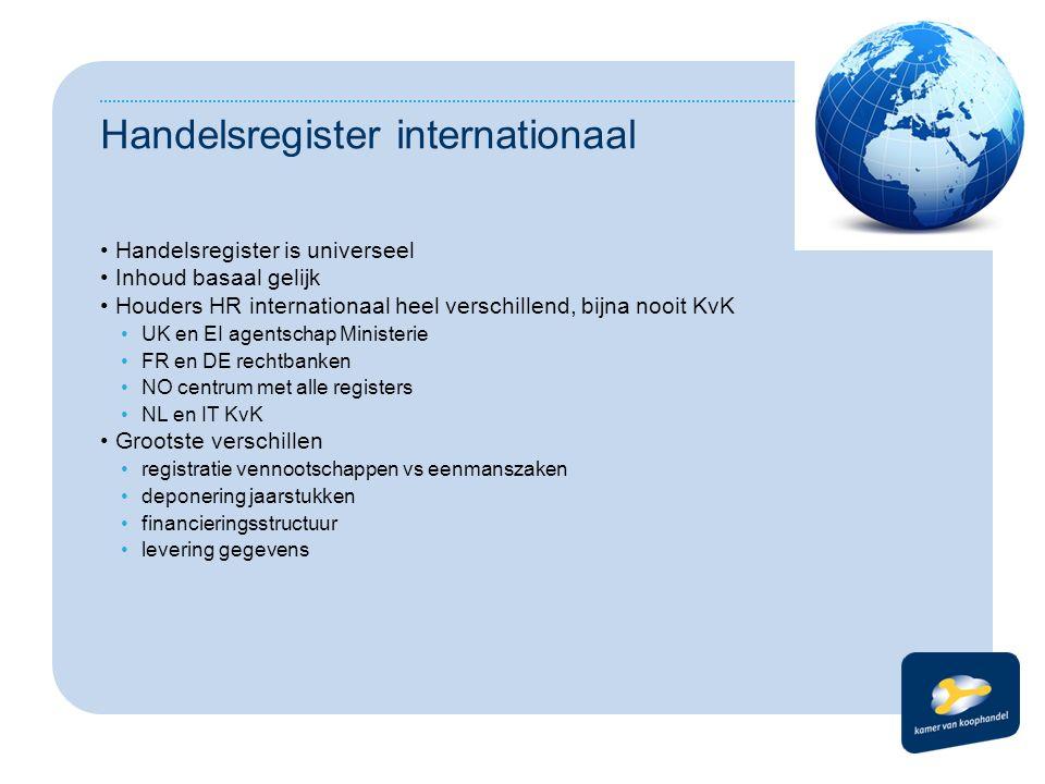 Handelsregister internationaal Handelsregister is universeel Inhoud basaal gelijk Houders HR internationaal heel verschillend, bijna nooit KvK UK en E
