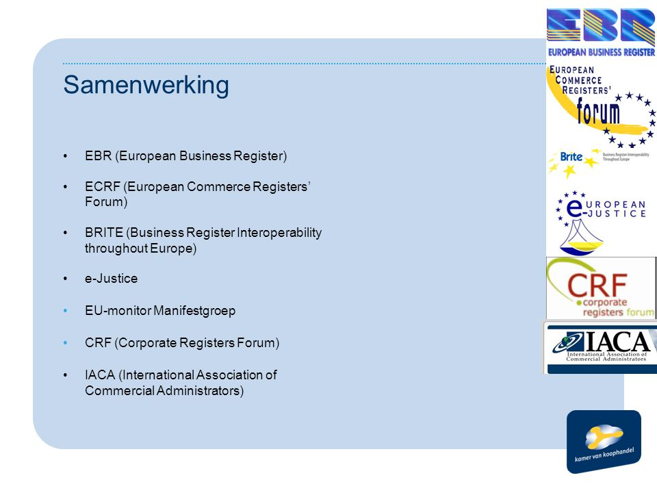 Samenwerking EBR (European Business Register) ECRF (European Commerce Registers' Forum) BRITE (Business Register Interoperability throughout Europe) e-Justice EU-monitor Manifestgroep CRF (Corporate Registers Forum) IACA (International Association of Commercial Administrators)