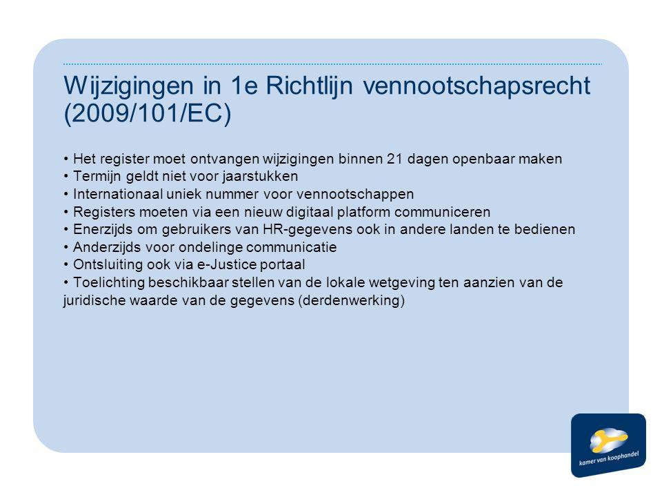 Wijzigingen in 1e Richtlijn vennootschapsrecht (2009/101/EC) Het register moet ontvangen wijzigingen binnen 21 dagen openbaar maken Termijn geldt niet