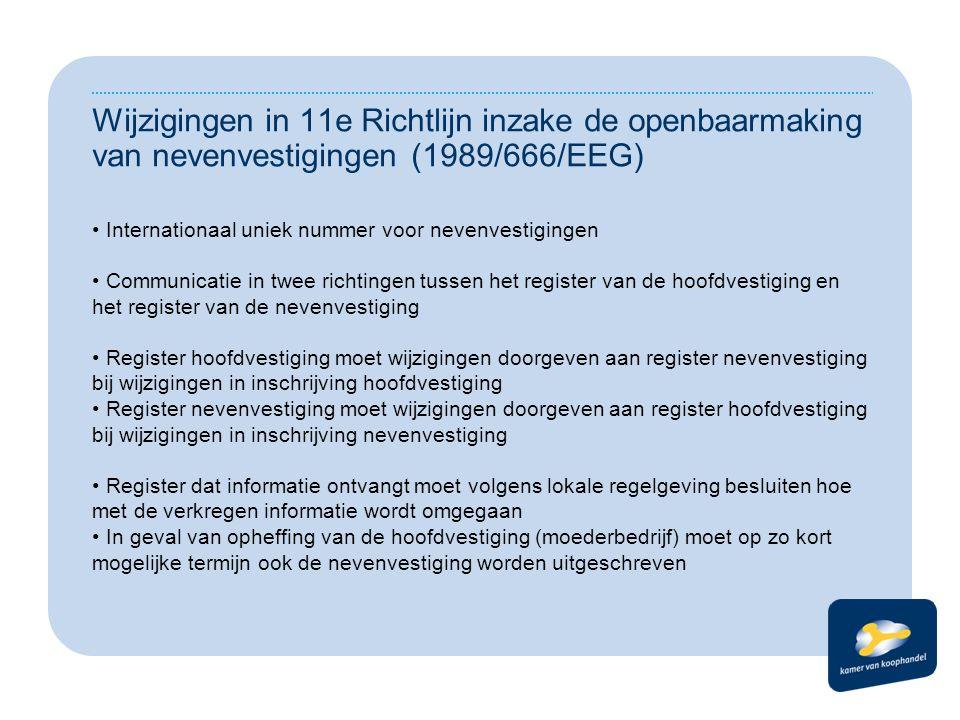 Wijzigingen in 11e Richtlijn inzake de openbaarmaking van nevenvestigingen (1989/666/EEG) Internationaal uniek nummer voor nevenvestigingen Communicatie in twee richtingen tussen het register van de hoofdvestiging en het register van de nevenvestiging Register hoofdvestiging moet wijzigingen doorgeven aan register nevenvestiging bij wijzigingen in inschrijving hoofdvestiging Register nevenvestiging moet wijzigingen doorgeven aan register hoofdvestiging bij wijzigingen in inschrijving nevenvestiging Register dat informatie ontvangt moet volgens lokale regelgeving besluiten hoe met de verkregen informatie wordt omgegaan In geval van opheffing van de hoofdvestiging (moederbedrijf) moet op zo kort mogelijke termijn ook de nevenvestiging worden uitgeschreven