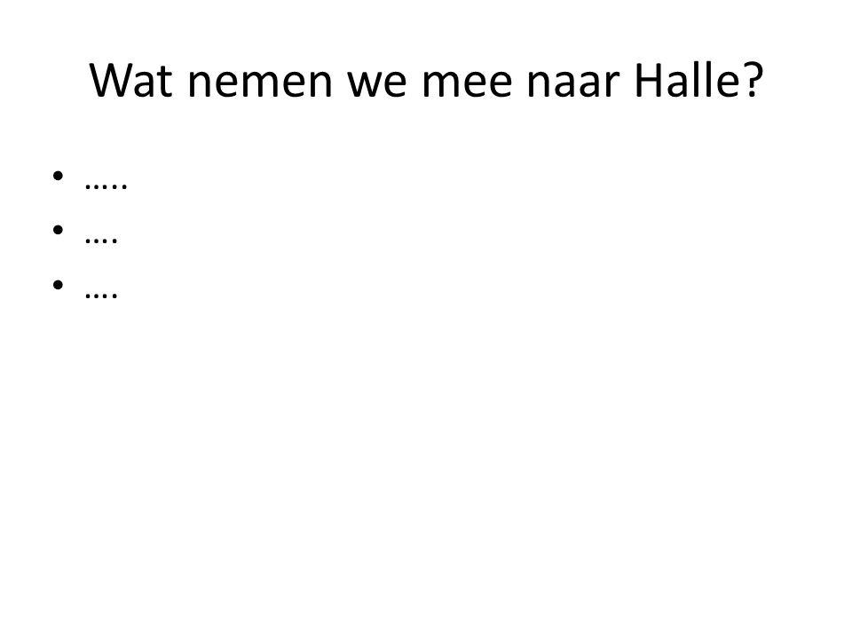 Wat nemen we mee naar Halle? ….. ….