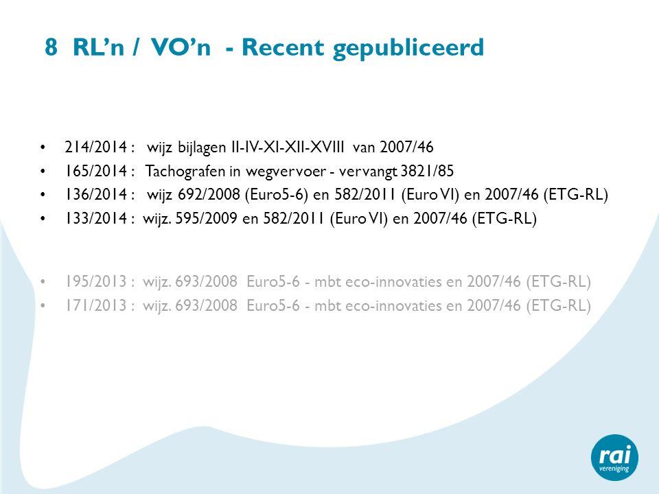 8 RL'n / VO'n - Recent gepubliceerd 214/2014 : wijz bijlagen II-IV-XI-XII-XVIII van 2007/46 165/2014 : Tachografen in wegvervoer - vervangt 3821/85 13