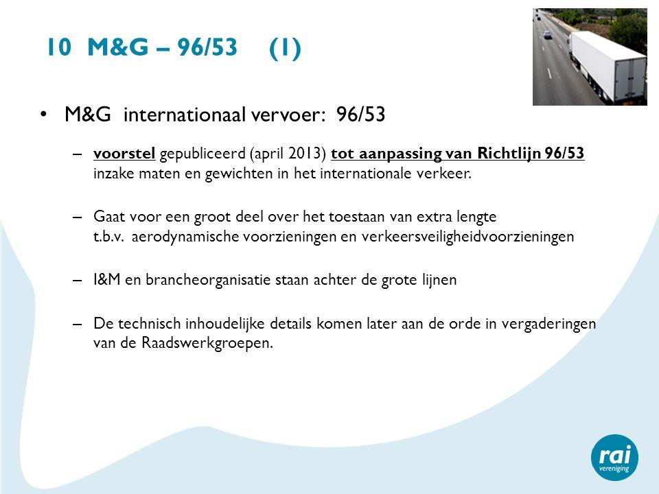 10 M&G – 96/53 (1) M&G internationaal vervoer: 96/53 – voorstel gepubliceerd (april 2013) tot aanpassing van Richtlijn 96/53 inzake maten en gewichten