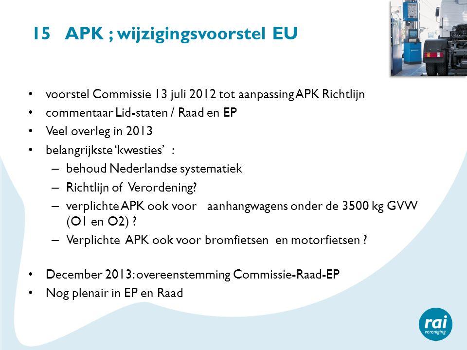 15 APK ; wijzigingsvoorstel EU voorstel Commissie 13 juli 2012 tot aanpassing APK Richtlijn commentaar Lid-staten / Raad en EP Veel overleg in 2013 be