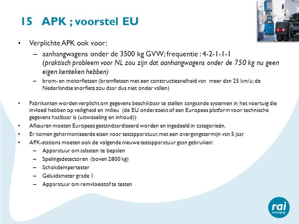 15 APK ; voorstel EU Verplichte APK ook voor: – aanhangwagens onder de 3500 kg GVW; frequentie : 4-2-1-1-1 (praktisch probleem voor NL zou zijn dat aa