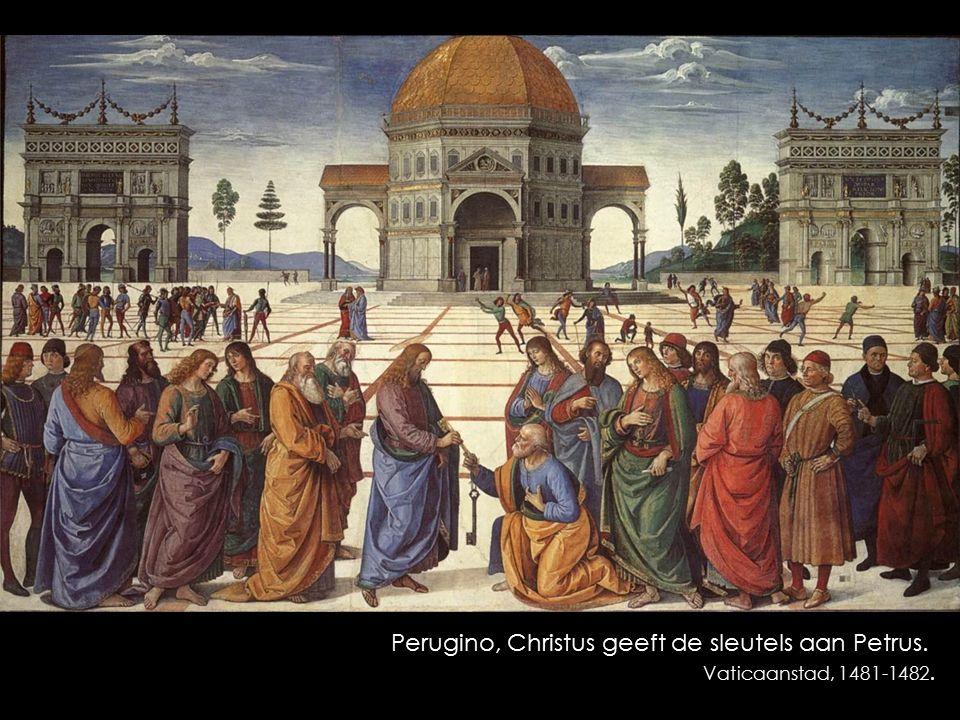 Perugino, Christus geeft de sleutels aan Petrus. Vaticaanstad, 1481-1482.