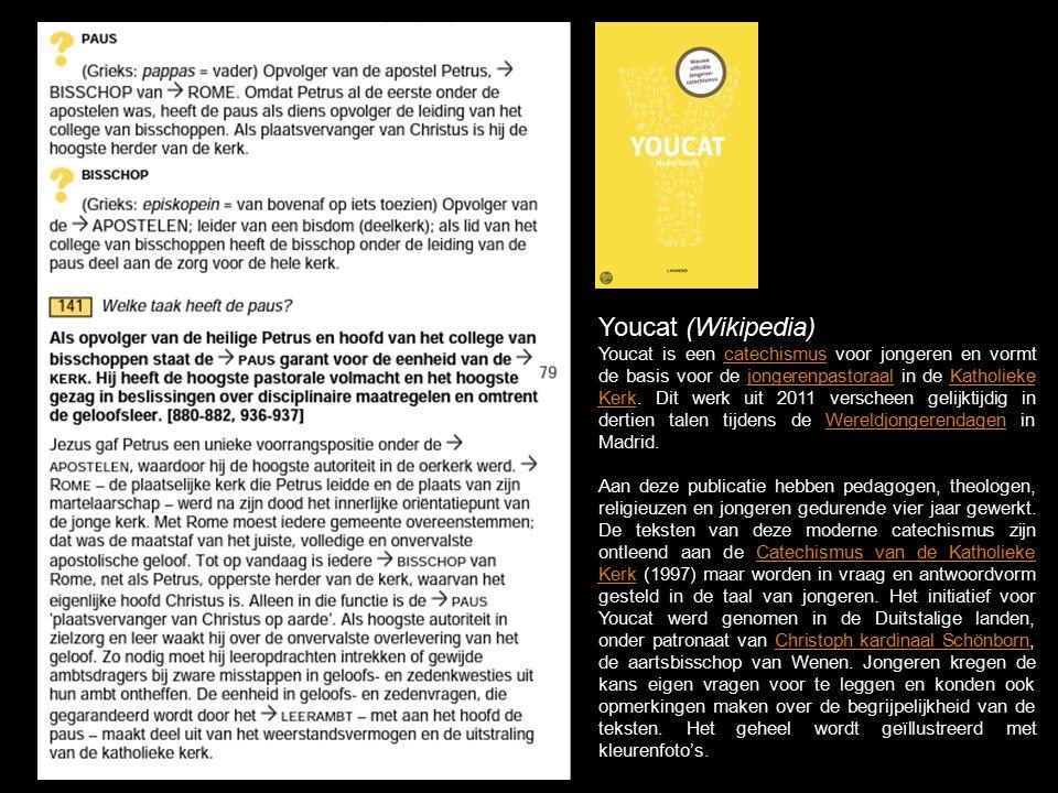 Youcat (Wikipedia) Youcat is een catechismus voor jongeren en vormt de basis voor de jongerenpastoraal in de Katholieke Kerk.