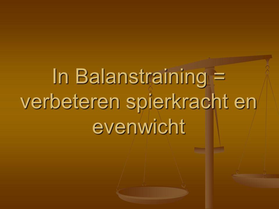 In Balanstraining = verbeteren spierkracht en evenwicht