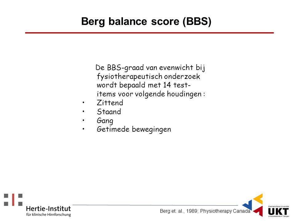 De BBS-graad van evenwicht bij fysiotherapeutisch onderzoek wordt bepaald met 14 test- items voor volgende houdingen : Zittend Staand Gang Getimede be