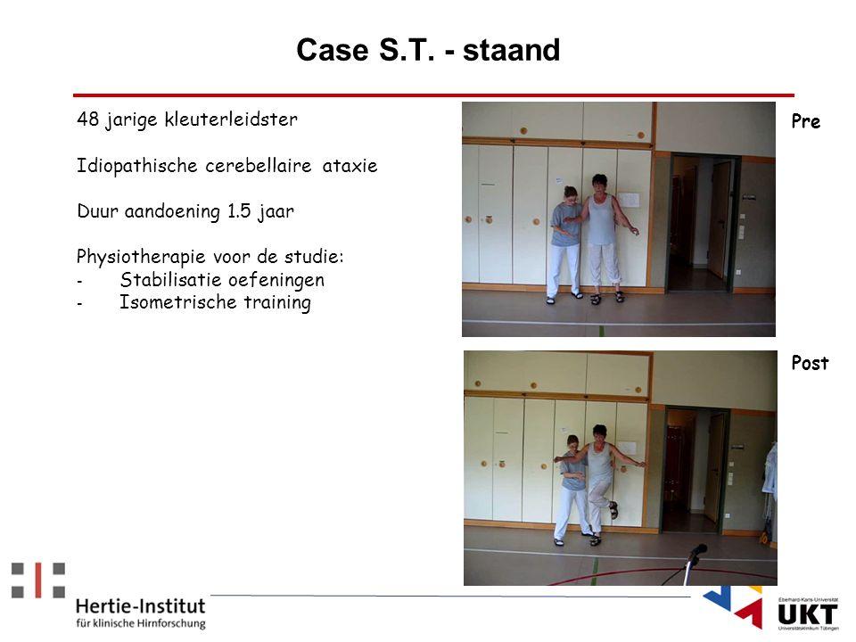 Case S.T. - staand 48 jarige kleuterleidster Idiopathische cerebellaire ataxie Duur aandoening 1.5 jaar Physiotherapie voor de studie: - Stabilisatie