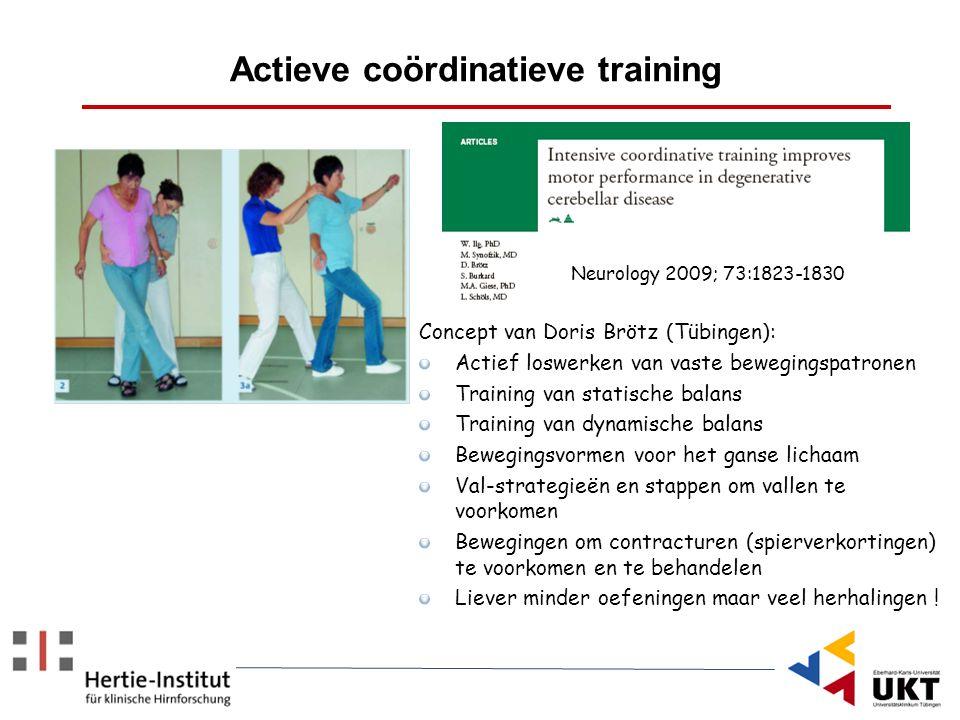 Concept van Doris Brötz (Tübingen): Actief loswerken van vaste bewegingspatronen Training van statische balans Training van dynamische balans Beweging