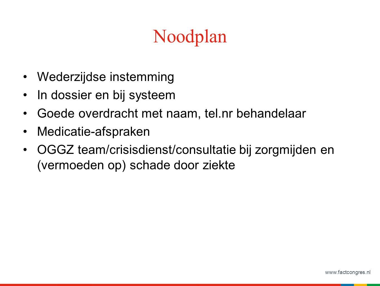 www.factcongres.nl Noodplan Wederzijdse instemming In dossier en bij systeem Goede overdracht met naam, tel.nr behandelaar Medicatie-afspraken OGGZ te