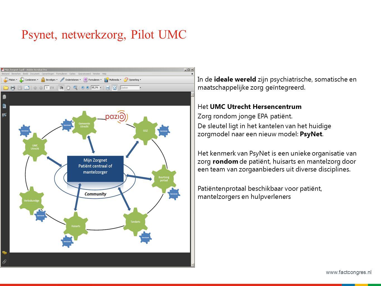 www.factcongres.nl Psynet, netwerkzorg, Pilot UMC In de ideale wereld zijn psychiatrische, somatische en maatschappelijke zorg geïntegreerd. Het UMC U