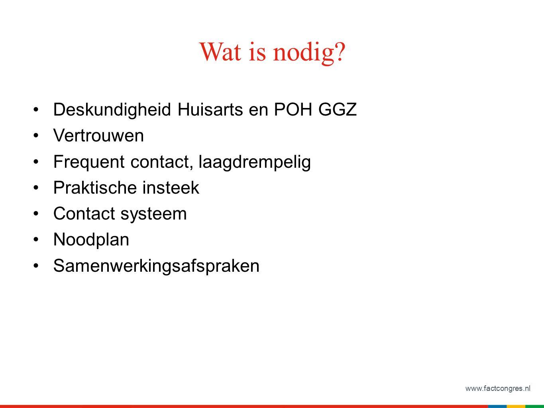 www.factcongres.nl Wat is nodig? Deskundigheid Huisarts en POH GGZ Vertrouwen Frequent contact, laagdrempelig Praktische insteek Contact systeem Noodp