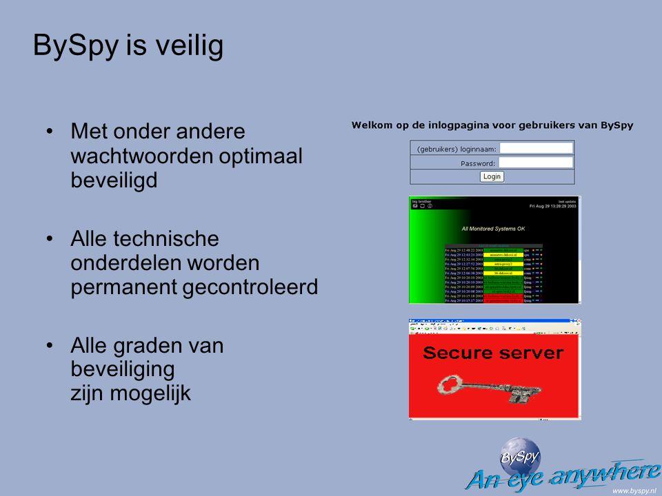 BySpy is veilig Met onder andere wachtwoorden optimaal beveiligd Alle technische onderdelen worden permanent gecontroleerd Alle graden van beveiliging zijn mogelijk