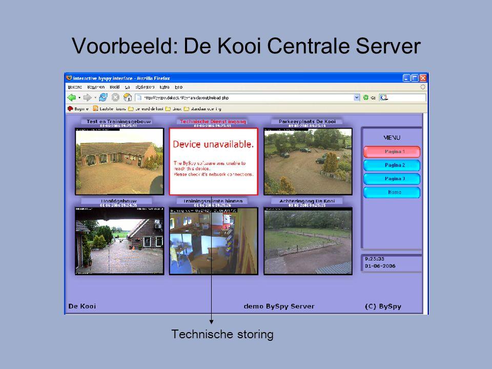 Voorbeeld: De Kooi Centrale Server Technische storing