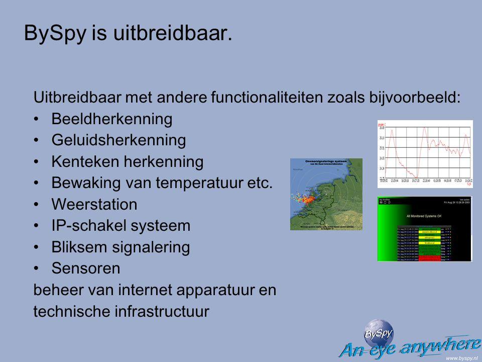 Uitbreidbaar met andere functionaliteiten zoals bijvoorbeeld: Beeldherkenning Geluidsherkenning Kenteken herkenning Bewaking van temperatuur etc. Weer
