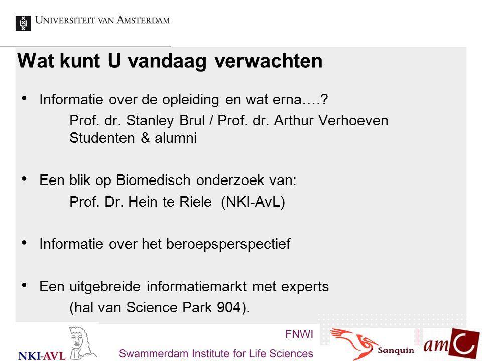 Wat kunt U vandaag verwachten Informatie over de opleiding en wat erna….? Prof. dr. Stanley Brul / Prof. dr. Arthur Verhoeven Studenten & alumni Een b