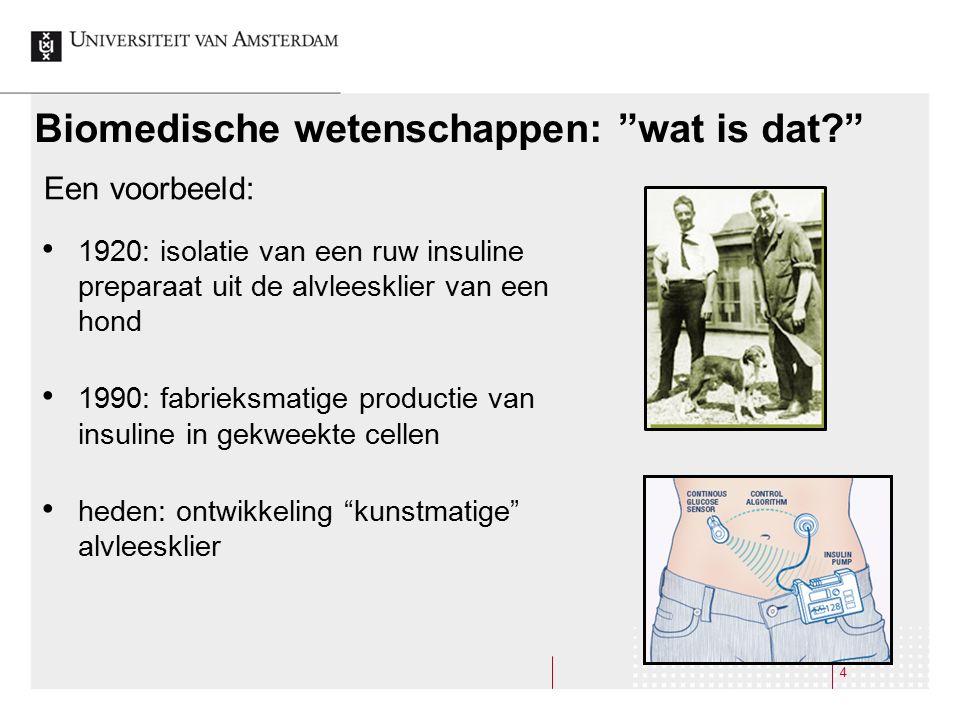 """Biomedische wetenschappen: """"wat is dat?"""" 1920: isolatie van een ruw insuline preparaat uit de alvleesklier van een hond 1990: fabrieksmatige productie"""
