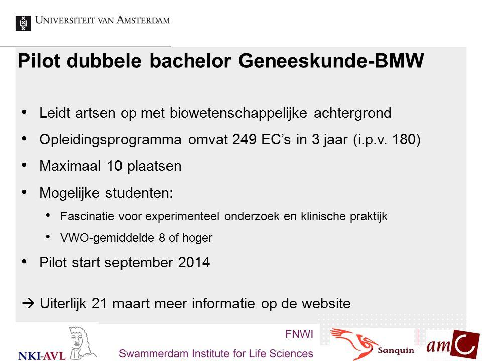 Pilot dubbele bachelor Geneeskunde-BMW Leidt artsen op met biowetenschappelijke achtergrond Opleidingsprogramma omvat 249 EC's in 3 jaar (i.p.v. 180)