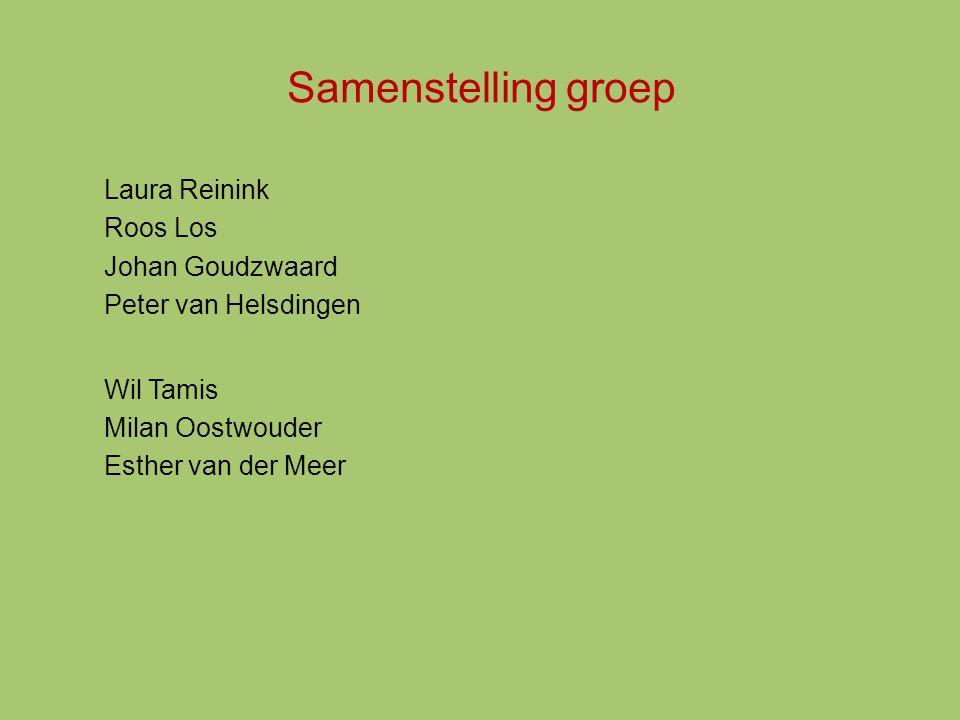 Samenstelling groep Laura Reinink Roos Los Johan Goudzwaard Peter van Helsdingen Wil Tamis Milan Oostwouder Esther van der Meer