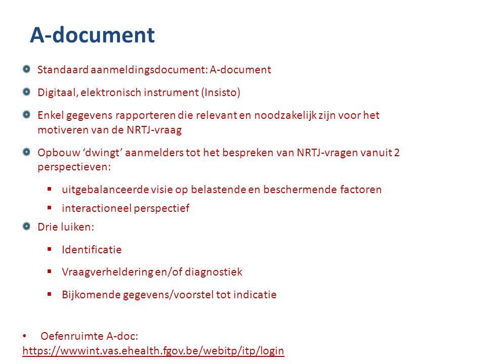 A-document Standaard aanmeldingsdocument: A-document Digitaal, elektronisch instrument (Insisto) Enkel gegevens rapporteren die relevant en noodzakelijk zijn voor het motiveren van de NRTJ-vraag Opbouw 'dwingt' aanmelders tot het bespreken van NRTJ-vragen vanuit 2 perspectieven:  uitgebalanceerde visie op belastende en beschermende factoren  interactioneel perspectief Drie luiken:  Identificatie  Vraagverheldering en/of diagnostiek  Bijkomende gegevens/voorstel tot indicatie Oefenruimte A-doc: https://wwwint.vas.ehealth.fgov.be/webitp/itp/login