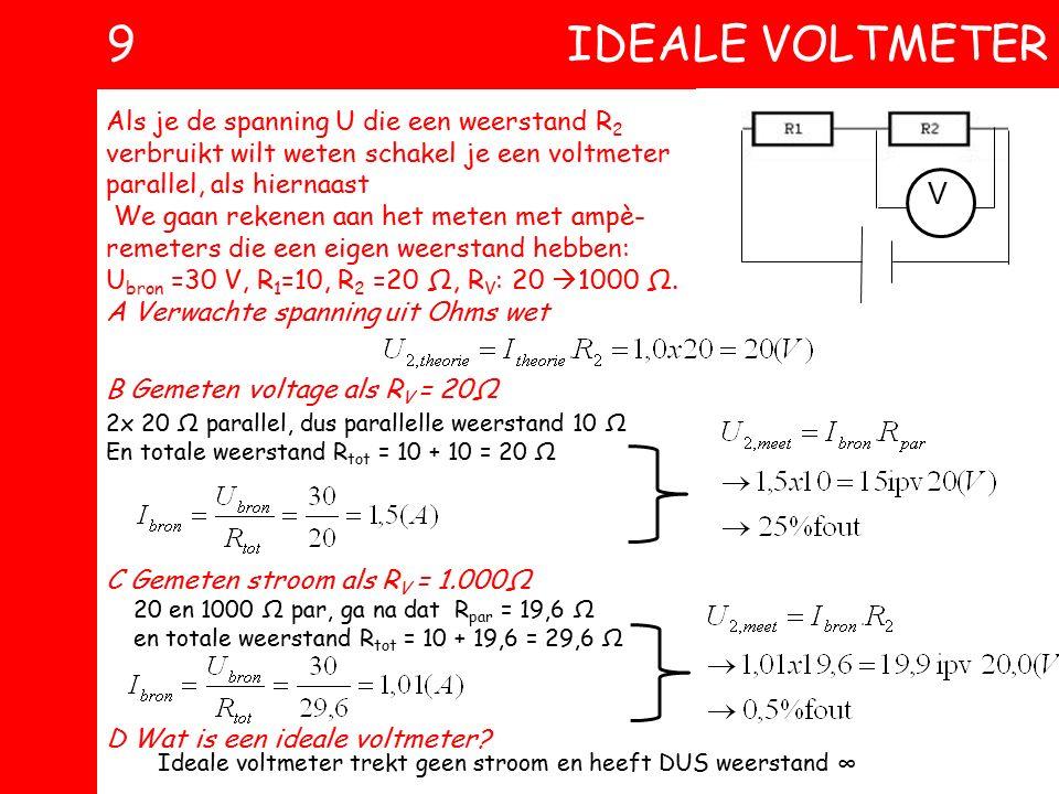 8 IDEALE AMPEREMETER Als je de stroomsterkte I in een schakeling wilt weten schakel je een ampèremeter in serie, als hiernaast. We gaan rekenen aan he