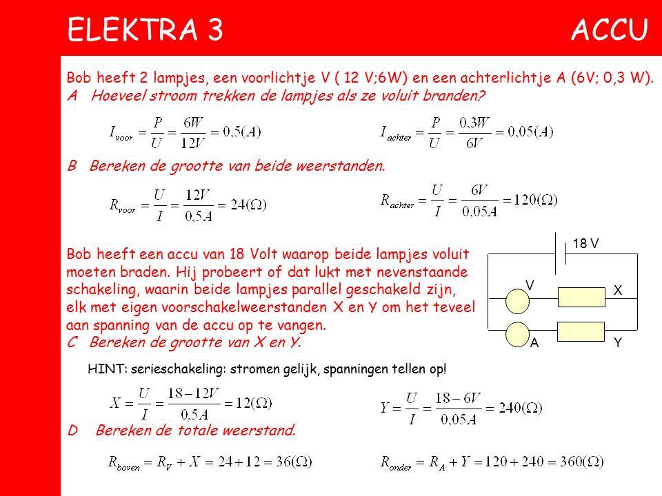 e Paul sluit een voltmeter aan tussen A en C. C Bereken de spanning die de meter aanwijst. Paul sluit nu een stroommeter aan tussen A en C. D Bereken