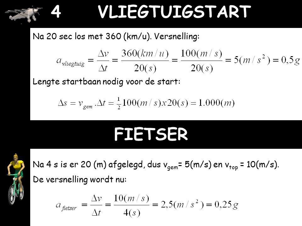 OPTREKKENTijdVerplaatsingEindsnelheidVolgordeVersnelling Sprinter2(s)8,0 (m) Fiets4,0 (s)20,0 (m) Auto8,0 (s)100 (km/u) Vliegtuig20 (s)360 (km/u) Rake
