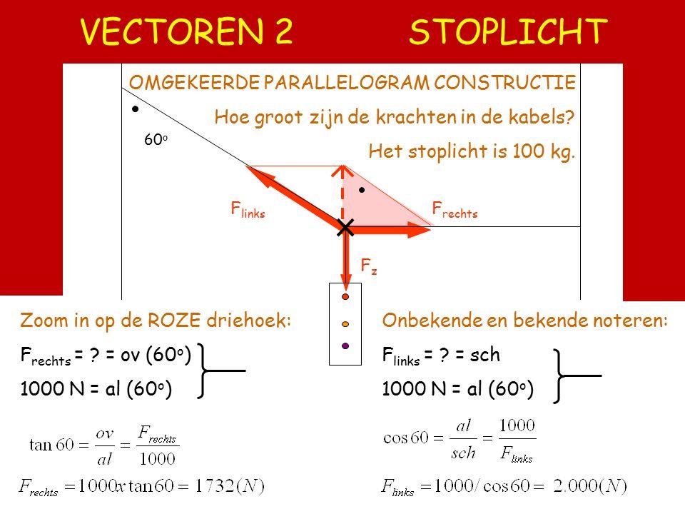 VECTOREN 1 HELLEND VLAK FzFz FnFn y L Meetkunde van afstanden (zwart) Meetkunde van krachten (rood) Heuvel op fietsen is zwaar, hoe zwaar? De helling