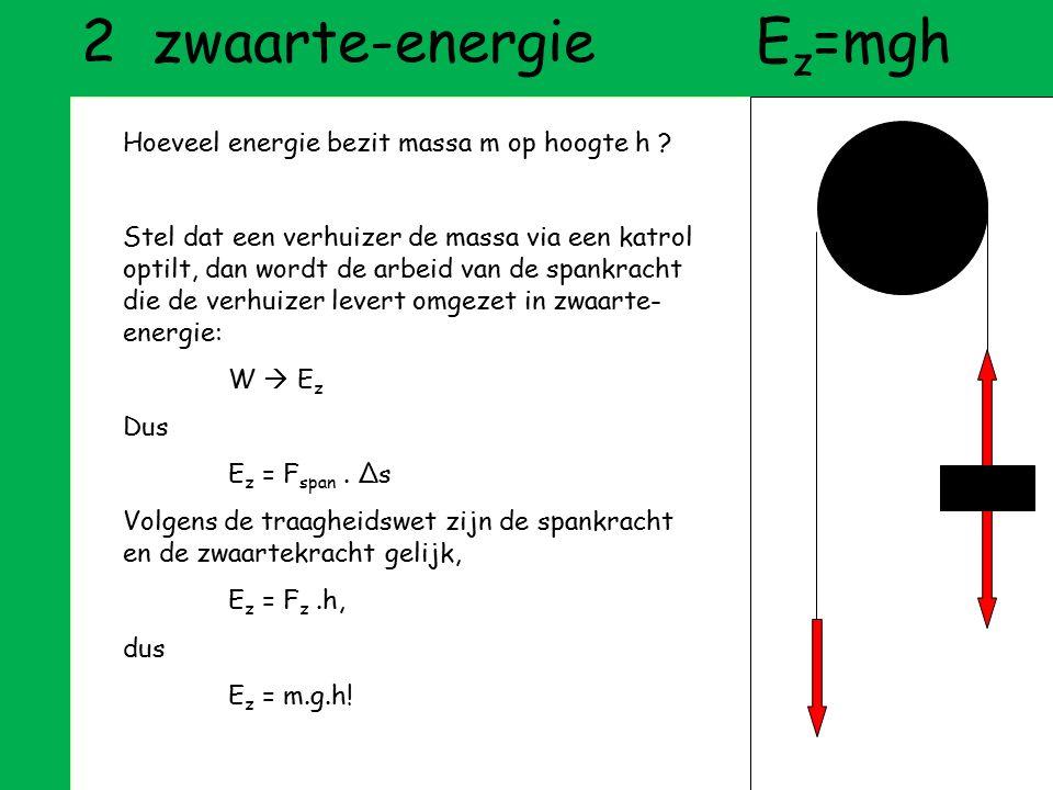 def arbeidW=F.Δs def energievermogen om arbeid te verrichten 1 e hoofdwet (E-behoud)E voor = E na 2 e hoofdwet (warmte)bij elk proces is warmteverlies