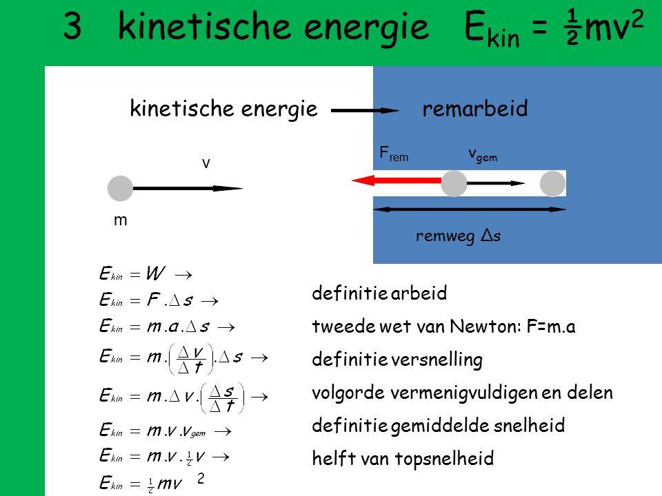 2 zwaarte-energie E z =mgh Hoeveel energie bezit massa m op hoogte h ? Stel dat een verhuizer de massa via een katrol optilt, dan wordt de arbeid van