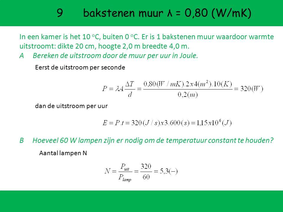P uit d (m) A (m 2 ) HOMOGENE MATERIALEN Warmtegeleidingscoefficient λ (W/mK) warmte uitstroom per sec door oppervlak A = 1 (m 2 ) door laag van d = 1