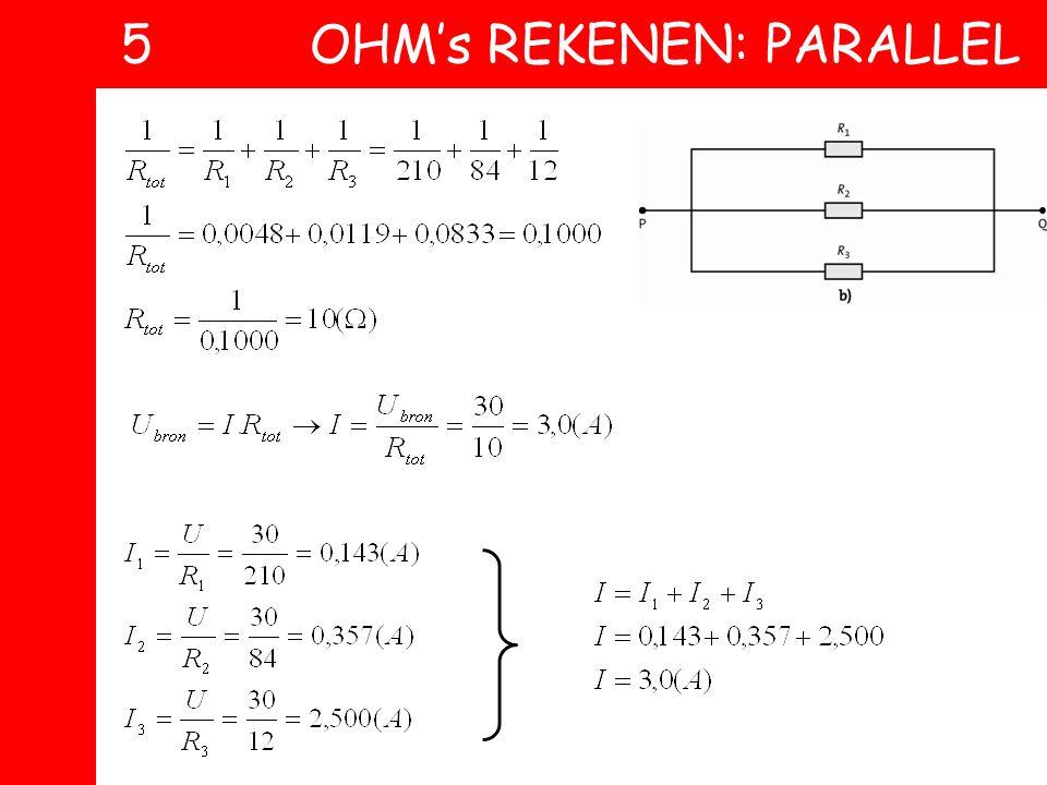 In onderstaande 4 plaatjes staan telkens dezelfde 3 weerstanden, maar in verschillende schakelingen: R 1 = 210, R 2 = 84 en R 3 = 12 Ω. A Bereken telk