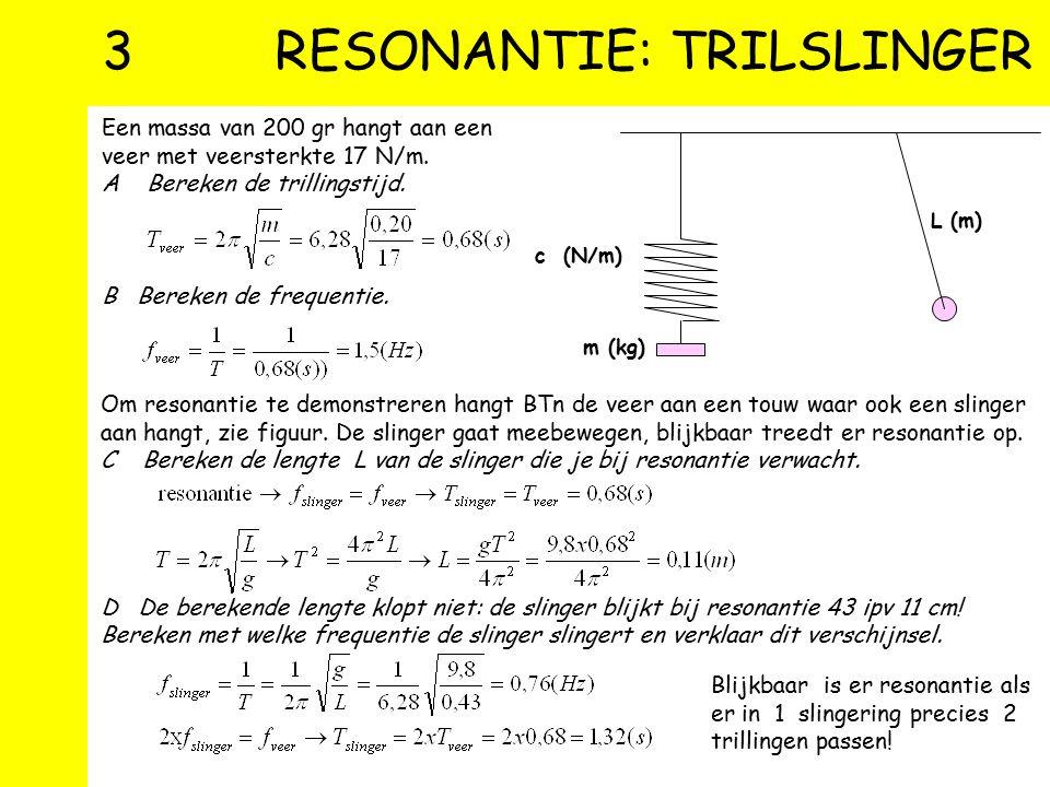 2 MASSA-VEER SYSTEEM Uitwijking Periode Vbn 3 A Check de eenheden in de formulen B Bereken de periode waarmee een lelijk eendje trilt als deze tegen d