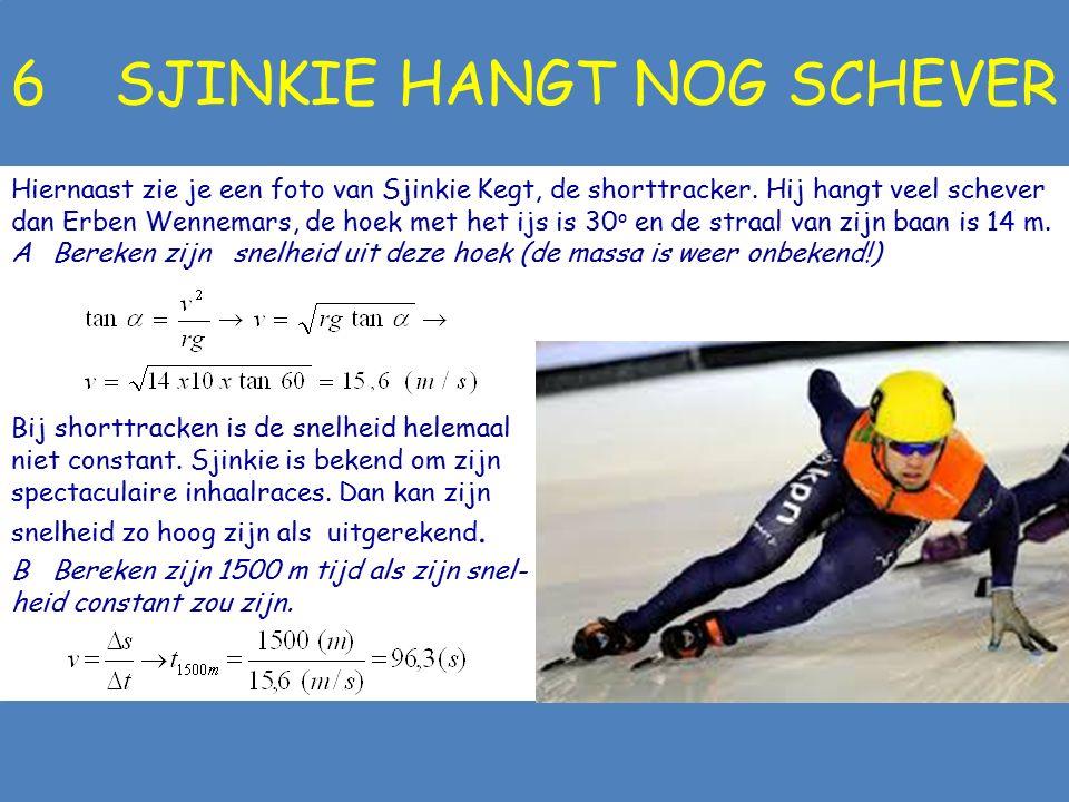 5 SCHEVE ERBEN Hiernaast zie je een foto van Erben Wennemars, die de 500 m schaatst en die 30 o uit het lood hangt. De straal van zijn baan is 30 m. A