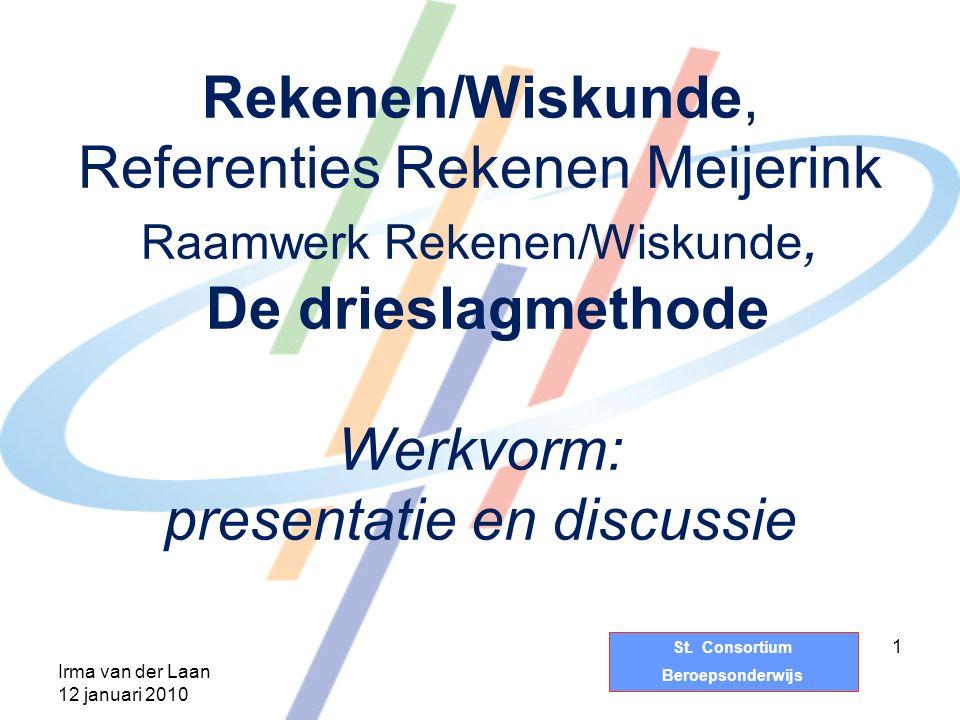 St. Consortium Beroepsonderwijs Rekenen/Wiskunde, Referenties Rekenen Meijerink Raamwerk Rekenen/Wiskunde, De drieslagmethode Werkvorm: presentatie en