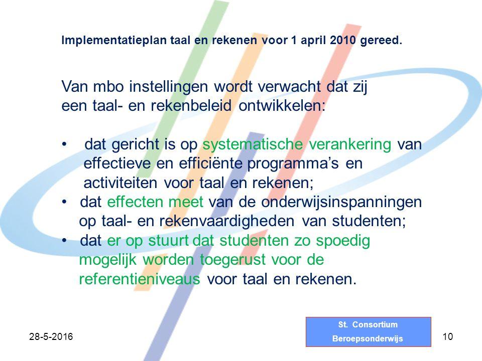 St. Consortium Beroepsonderwijs 28-5-201610 Implementatieplan taal en rekenen voor 1 april 2010 gereed. Van mbo instellingen wordt verwacht dat zij ee