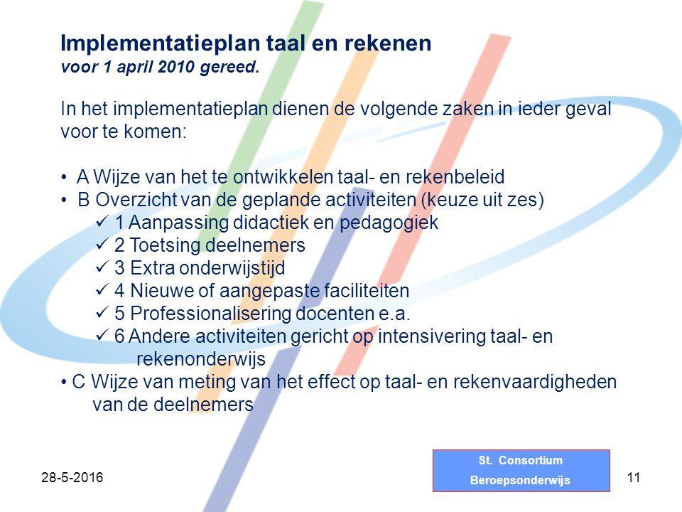 St. Consortium Beroepsonderwijs 28-5-201611 Implementatieplan taal en rekenen voor 1 april 2010 gereed. In het implementatieplan dienen de volgende za
