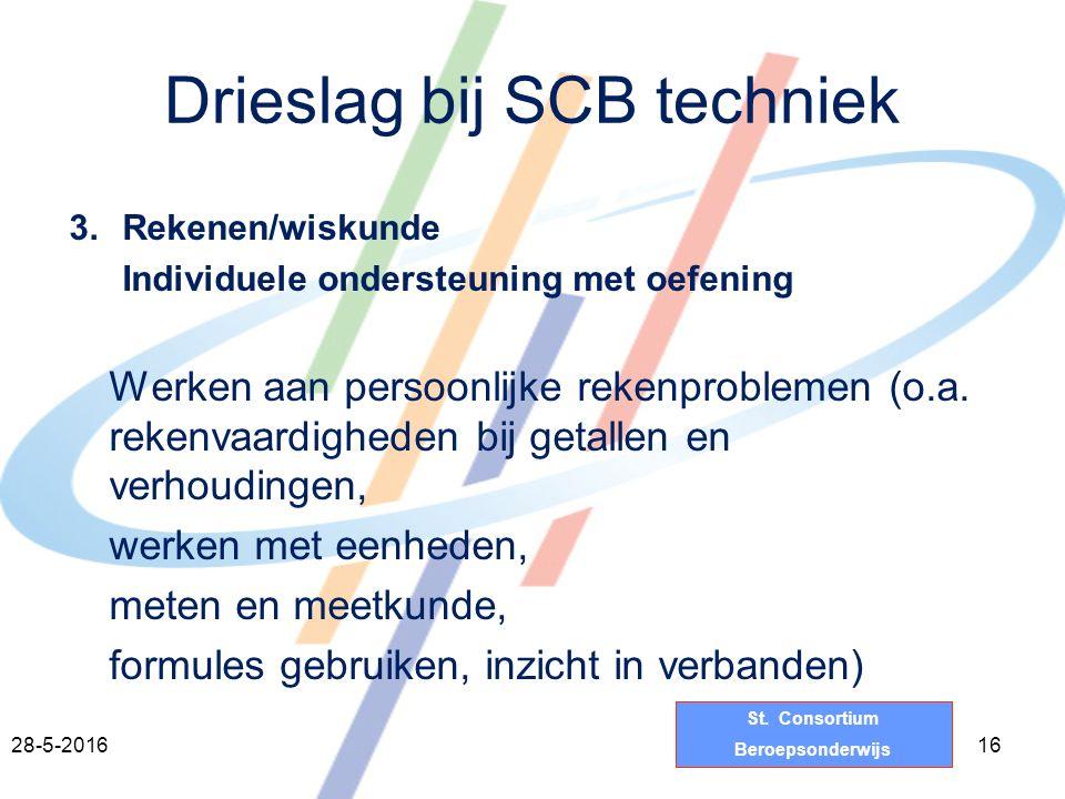 St. Consortium Beroepsonderwijs Drieslag bij SCB techniek 3.Rekenen/wiskunde Individuele ondersteuning met oefening Werken aan persoonlijke rekenprobl