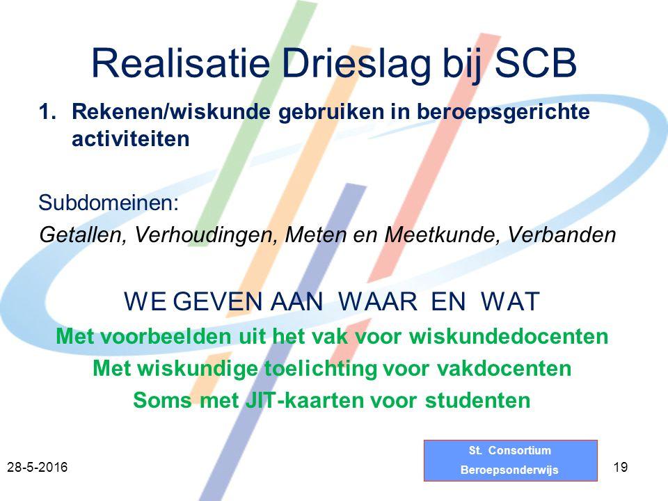 St. Consortium Beroepsonderwijs Realisatie Drieslag bij SCB 1.Rekenen/wiskunde gebruiken in beroepsgerichte activiteiten Subdomeinen: Getallen, Verhou
