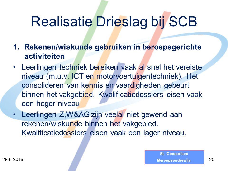 St. Consortium Beroepsonderwijs Realisatie Drieslag bij SCB 1.Rekenen/wiskunde gebruiken in beroepsgerichte activiteiten Leerlingen techniek bereiken