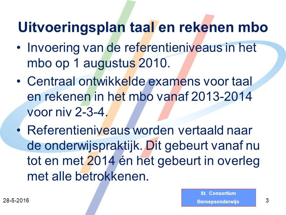 St. Consortium Beroepsonderwijs Uitvoeringsplan taal en rekenen mbo 328-5-2016 Invoering van de referentieniveaus in het mbo op 1 augustus 2010. Centr