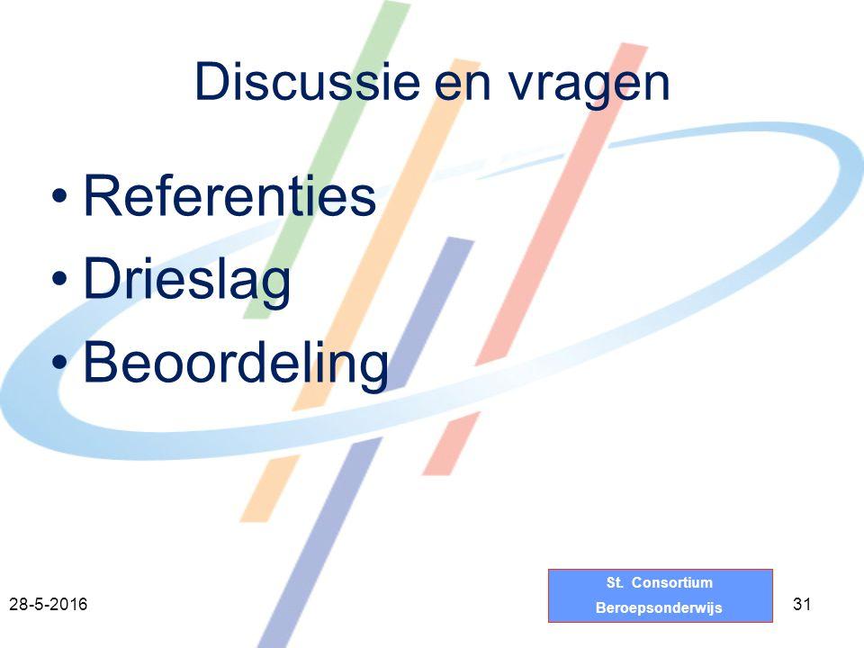 St. Consortium Beroepsonderwijs Discussie en vragen Referenties Drieslag Beoordeling 3128-5-2016